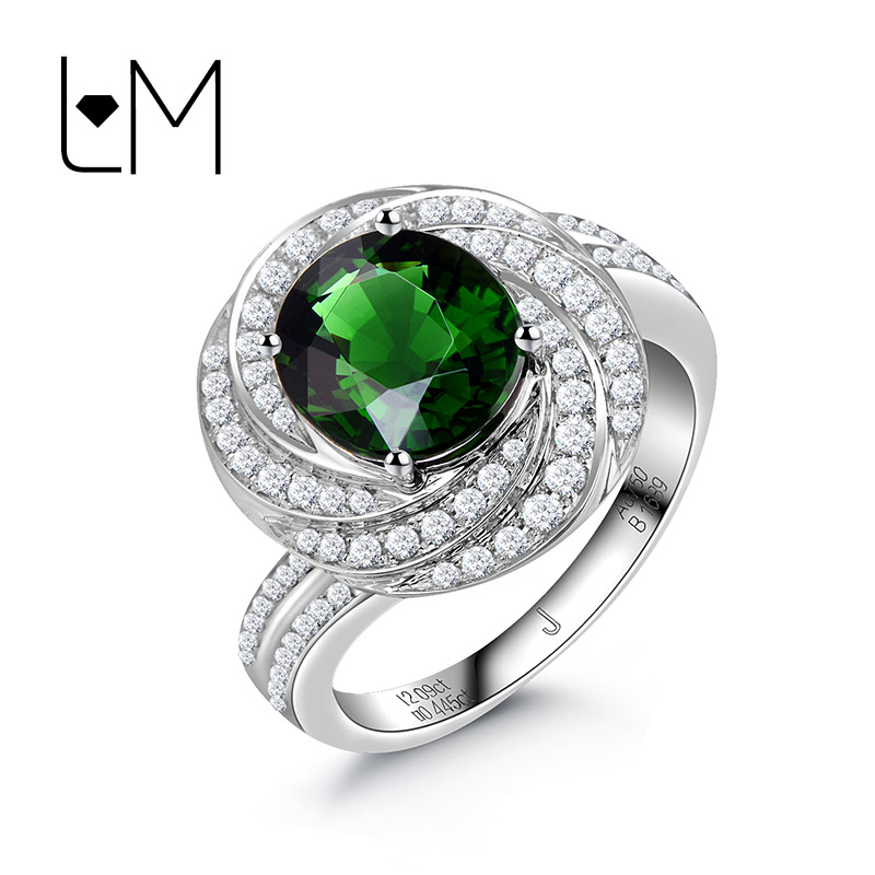 灵妙珠宝18k金镶嵌天然钻石绿铬碧玺戒指女 彩色宝石女戒支持定制