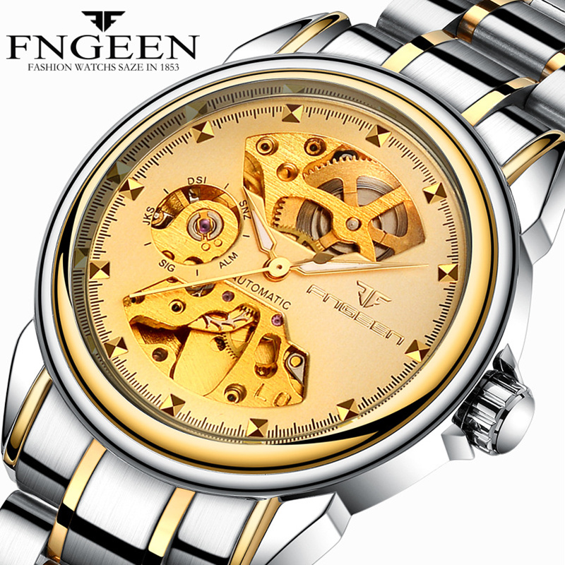 Watch mens mechanical watch fully automatic mens business watch lovers watch hollow out luminous waterproof steel band student womens Watch