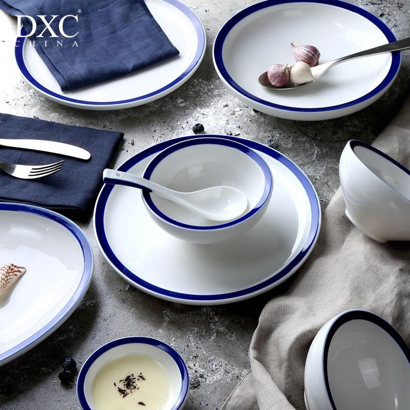 DXC 碗碟套裝家用 日式陶瓷餐具套裝碗盤 韓式簡約碗筷套裝