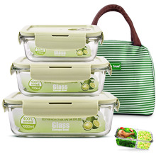 Chuangde glass lunch box microwave heating special office worker fresh-keeping box with lid sealed adult lunch bowl set