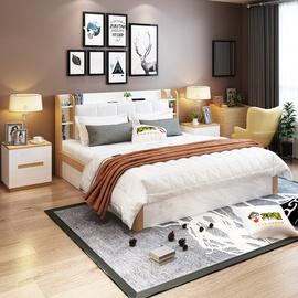实木高箱储物床1.5米现代简约小户型智能收纳板木结合双人床1.8米图片