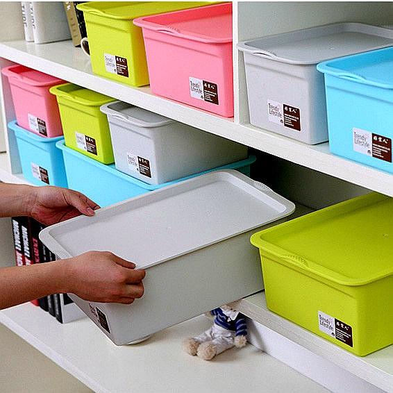 收纳盒塑料有盖储物盒彩色分类桌面文件厨房内衣化妆品学生收纳箱