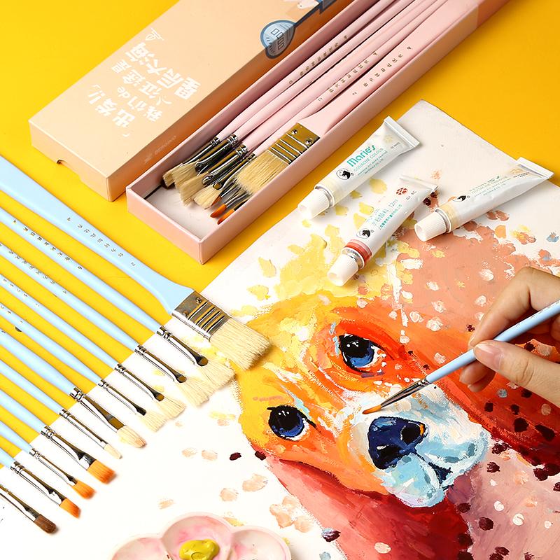 博格利诺水粉画笔套装水粉水彩笔丙烯画油画色彩颜料美术专用学生专业画画排笔刷子扇形扁头美术绘画儿童狼毫