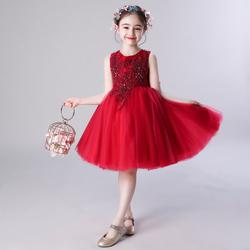 女童生日公主裙蓬蓬纱儿童晚礼服花童婚纱秋冬女孩红色钢琴演出服