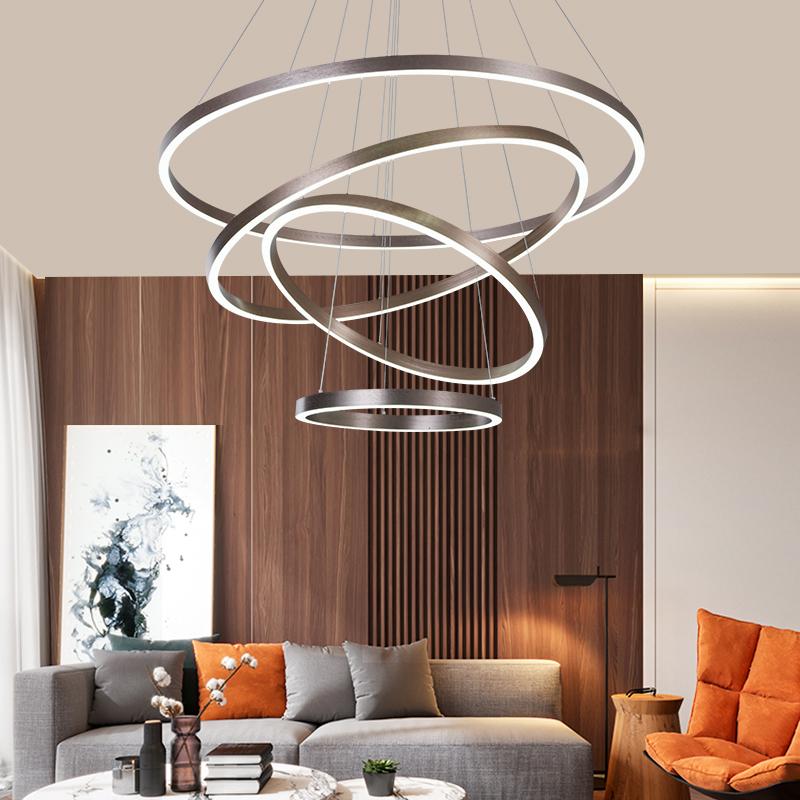 灯具客厅吊灯 现代简约客厅?#25340;?#27668;高档led创意个性圆环形餐厅吊灯