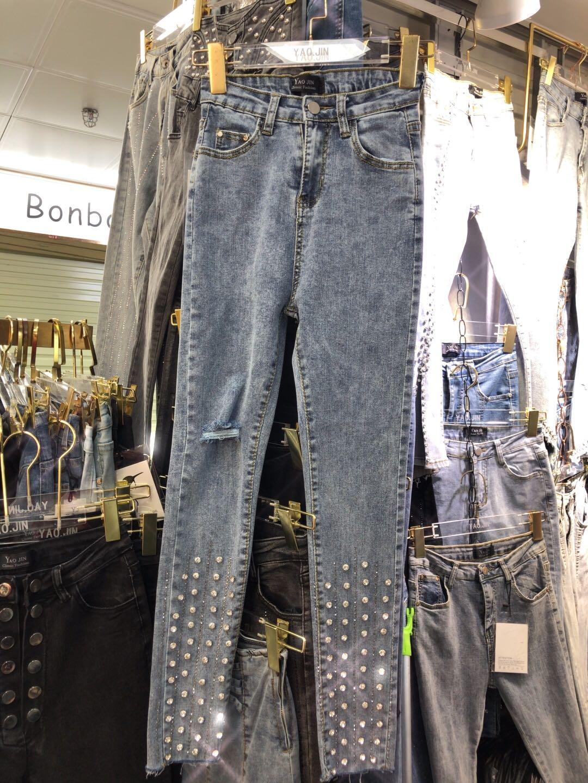 欧洲站重工钉珠镶钻牛仔裤女裤脚高腰显瘦弹力修身九分牛仔裤
