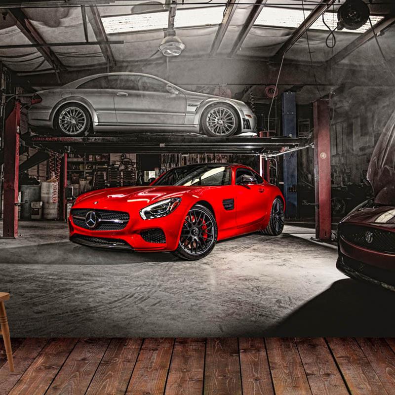汽车4S店改装修理背景汽车主题壁纸3d立体个性墙纸餐厅酒吧壁画布