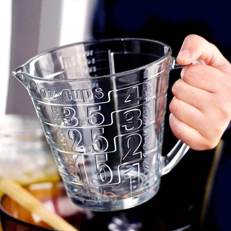 欧洲进口玻璃量杯带刻度微波炉耐热牛奶杯计量杯家用烘培1000毫升