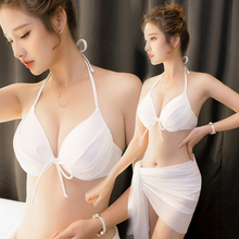 Bikini Feminine Feeling Three-Point Small Chest Collection White Swimming Dress Female Three-piece Set Bikini Hot Spring Beach, Korea