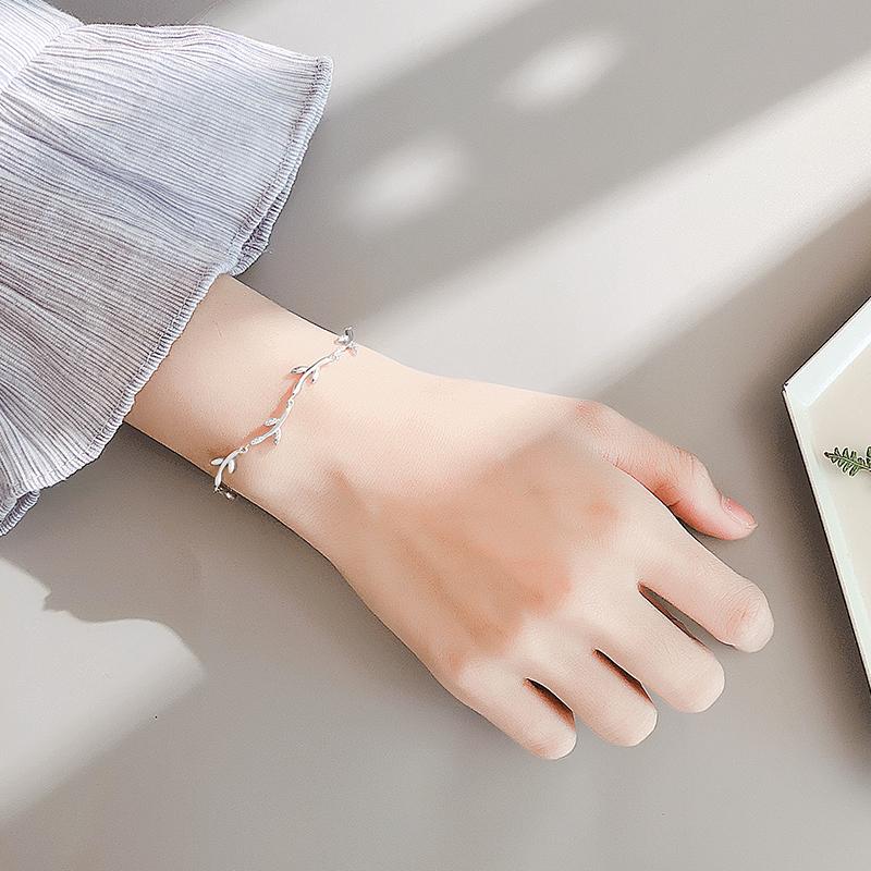 925银叶子手链甜美清新女手饰个性创意森系学生韩版简约饰品闺蜜