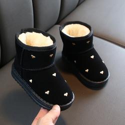 女童爱心雪地靴2020冬季新款韩版保暖大棉加绒加厚棉鞋中大童短靴