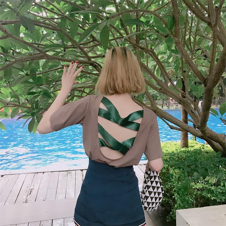 百搭性感大露背上衣女夏 chic韓學生寬鬆個性前衛小心機短袖t恤潮