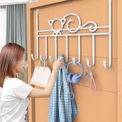门后挂钩挂衣架置物架门上背式挂架免打孔卧室背后铁艺钩衣服收纳