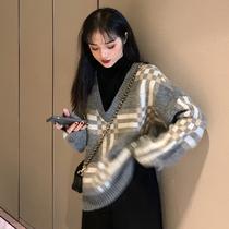 大码女装胖妹妹mm毛衣女冬装新款宽松大码假两件套头长袖外穿上衣