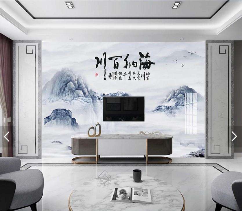新中式海纳百川水墨山水高山背景墙瓷砖客厅电视背景墙3D瓷砖壁画满378.00元可用189元优惠券