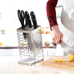 刀架厨房用品刀具收纳架菜刀架筷子笼一体多功能置物架刀座不锈钢