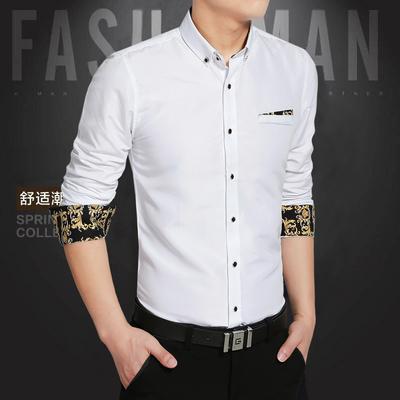 衬衫男长袖时尚工作服韩版修身帅气短袖衬衣青年潮流休闲白衬衣