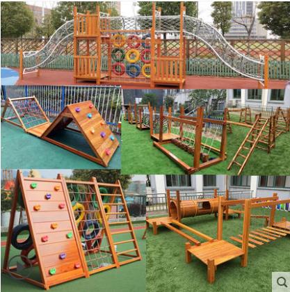 Kindergarten dangqiao childrens outdoor single wooden bridge climbing net large outdoor toy swing combination wooden climbing frame