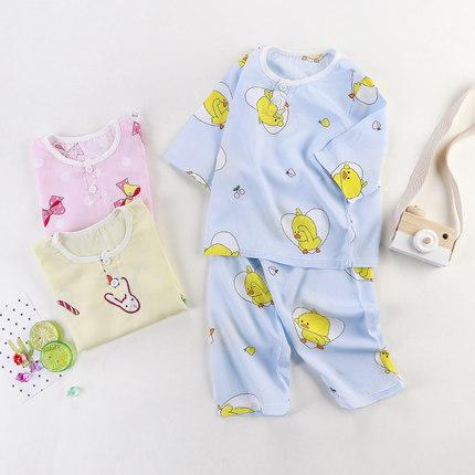 儿童棉绸睡衣夏季男孩童装男童薄款空调服宝宝套装女童绵绸家居服