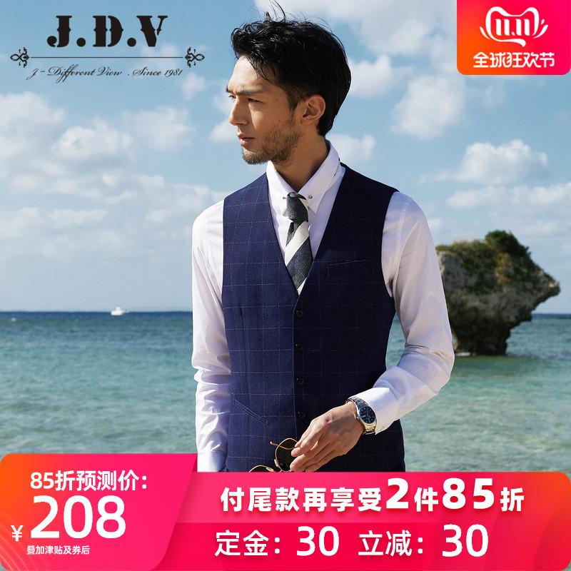 JDV男装 2019秋季新品 男士格子西装马甲修身 休闲西服马甲男 thumbnail