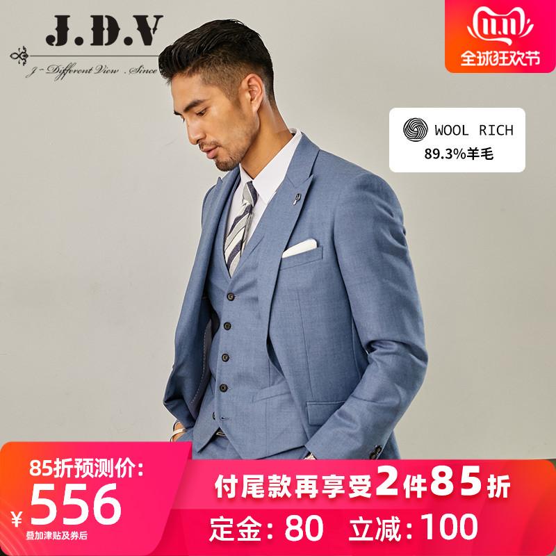 JDV男装 秋冬款新品男士蓝灰羊毛免烫正装西服WMM8015BGY thumbnail