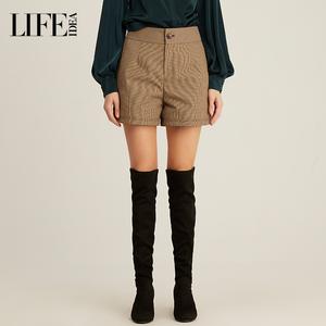 【商场同款】莱芙艾迪儿2019秋冬新款女装 复古格子西装高腰短裤