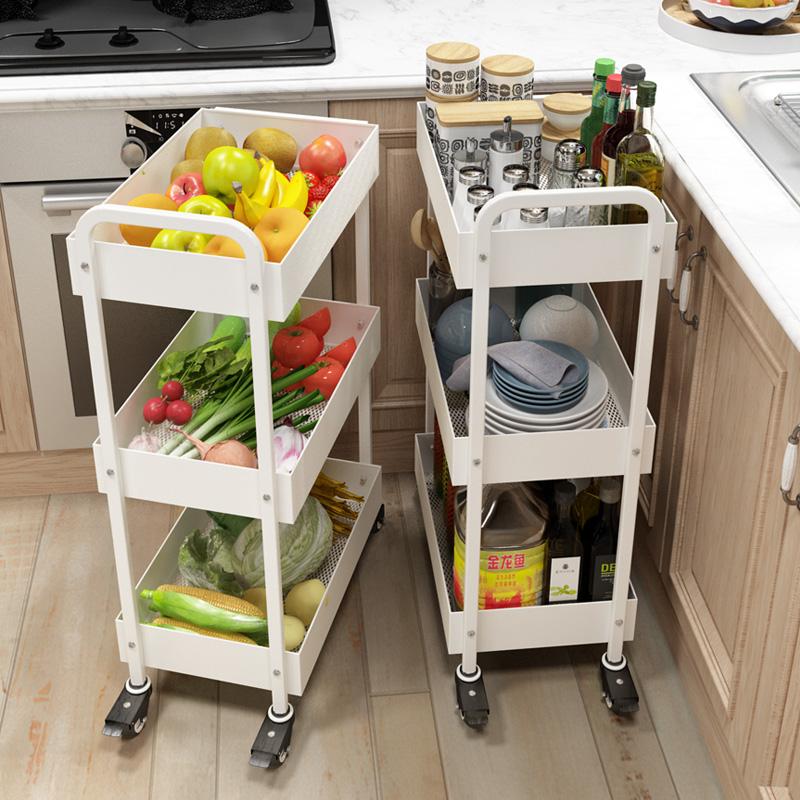 五潤三層可移動小手推車家居收納置物架夾縫廚房儲物架帶輪落地架