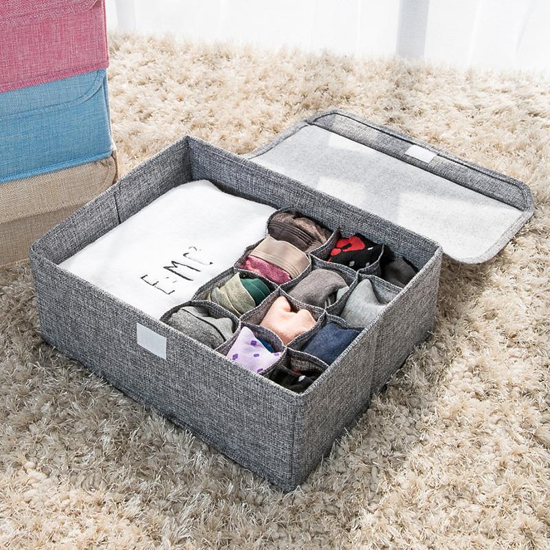 内衣内裤收纳盒布艺有盖整理箱学生宿舍文胸袜子分格收纳盒可水洗