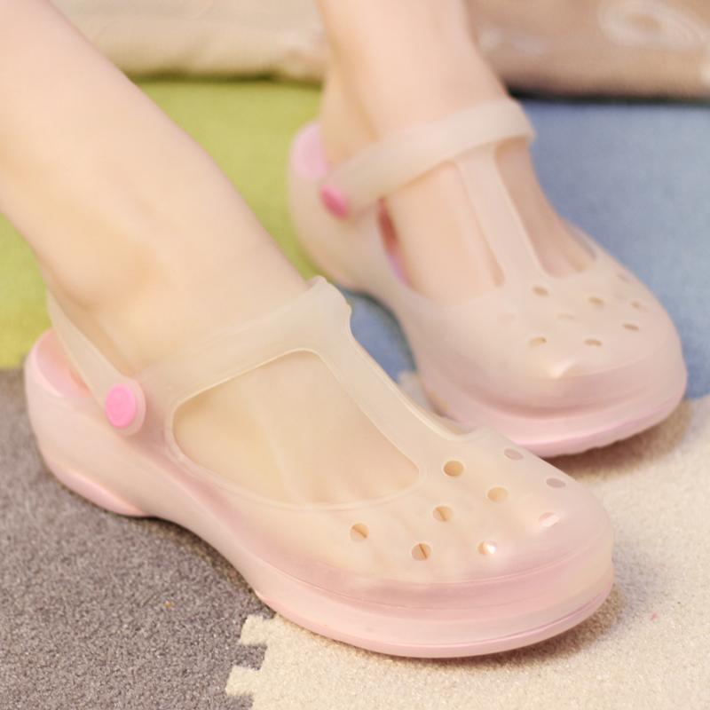 韩版厚底坡跟洞洞鞋女夏季防滑拖鞋玛丽珍变色沙滩鞋软底果冻凉鞋