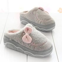 厚底防滑居家棉拖鞋女冬季保暖增高跟毛毛拖时尚新款室内外穿月子
