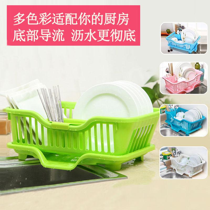 沃之沃 小號塑料廚房瀝水架碗碟架置物架碗櫃架碗架筷架三件套