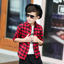 Boys long-sleeved plaid shirt children childrens woolen cotton autumn and winter with cashmere shirt 2019 Korean childrens clothing
