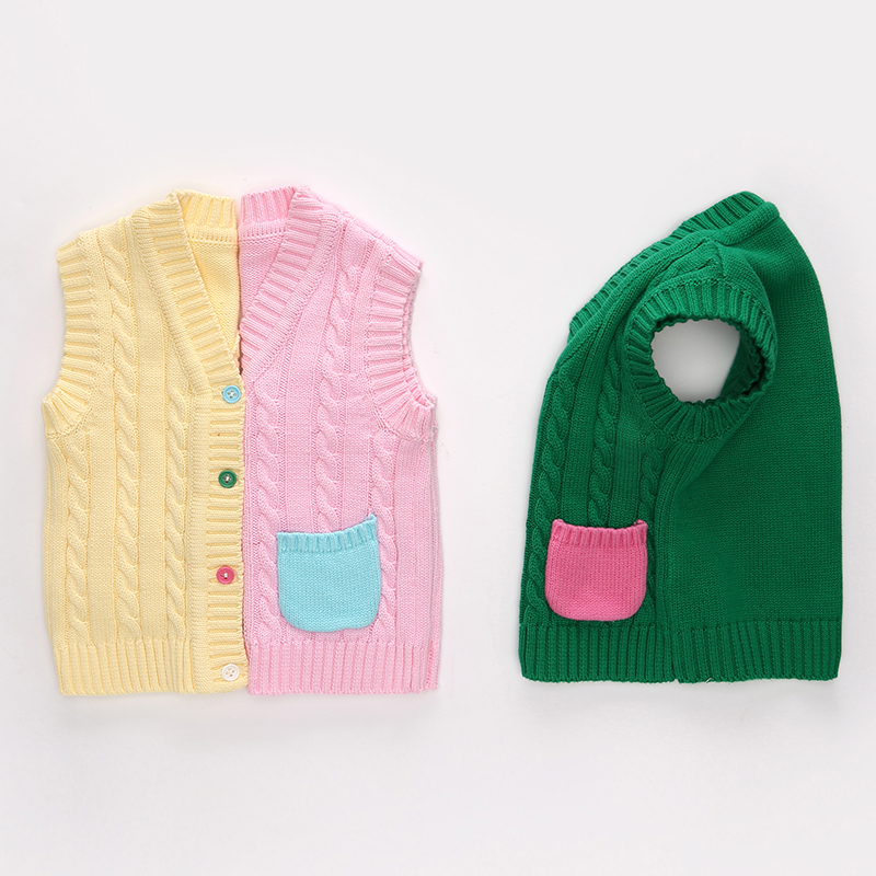 寶寶純棉衣服毛線背心嬰兒坎肩春裝開衫針織衫毛衣男女童春裝馬甲