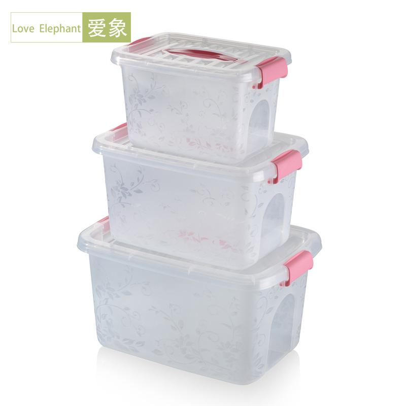 塑料透明手提收納箱 加厚食品儲物箱 有蓋玩具書籍雜物收納箱