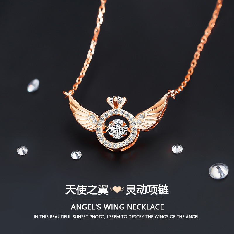 Pure silver S925 original new angel wings smart clavicle Necklace womens simple beating heart ins wind Silver