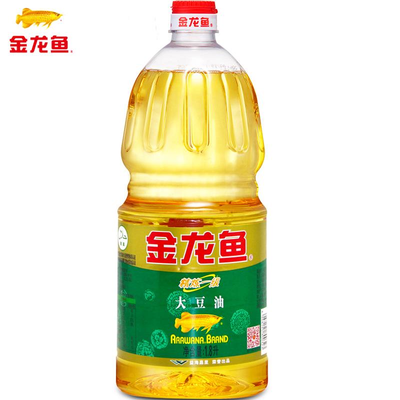 金龍魚大豆油1.8L 瓶精煉一級食用油豆油烘焙蛋糕色拉油烹飪桶裝
