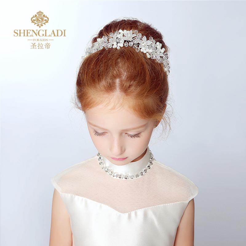 兒童頭飾 韓式唯美發箍花童發飾新娘結婚頭飾頭花兒童演出頭飾