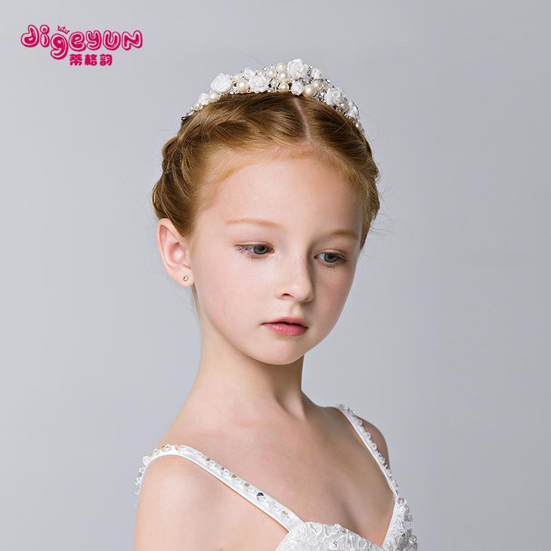 蒂格韻 兒童發飾花仙子女童公主頭飾 陶瓷公主皇冠六一節演出頭飾