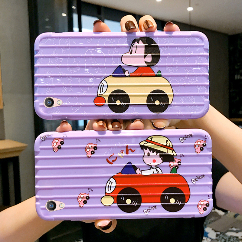 Purple suitcase oppor9 mobile phone case female silicone full bag anti drop oppor9m / r9tm / r9s / r9st / r9sk / r9t protective cover net red cute cartoon fashion women fashion 0pp0r trend