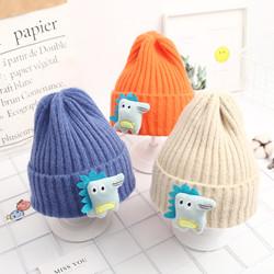 儿童帽子韩版潮男女童1-5岁小孩恐龙针织帽6秋冬季宝宝保暖毛线帽