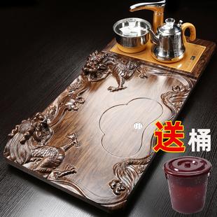 琨德整套功夫茶具实木茶盘套装 家用全自动电磁炉一体茶台茶海茶托