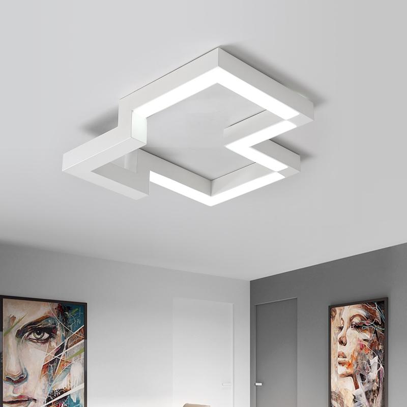 卧室灯饰led吸顶灯具客厅灯房间灯现代简约创意个性正方形,可领取10元天猫优惠券