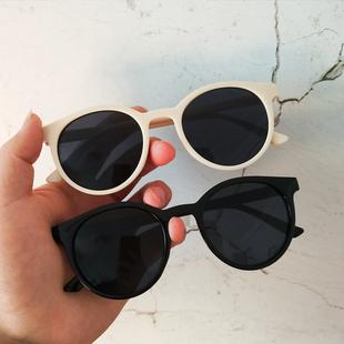 韩版ulzzang原宿墨镜女复古圆框太阳镜米白色边框修脸果冻粉眼镜