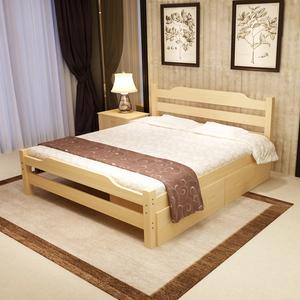 实木床双人床 主卧1.5米1.8米现代简约床松木单人床1.2米带拖床