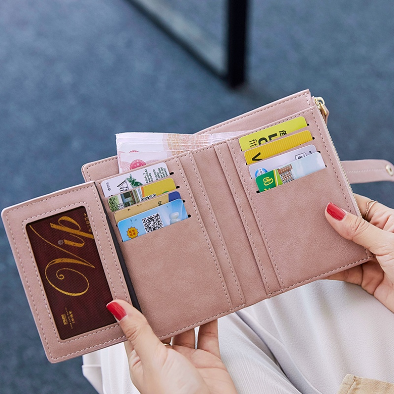 Womens small wallet womens short ins Korean student cute two fold simple Xiaoqing new niche Designer