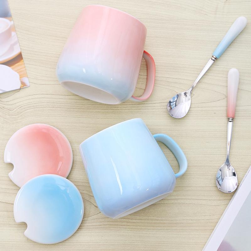简约水杯渐变色陶瓷杯马克杯带盖勺情侣杯子一对创意潮家用咖啡杯