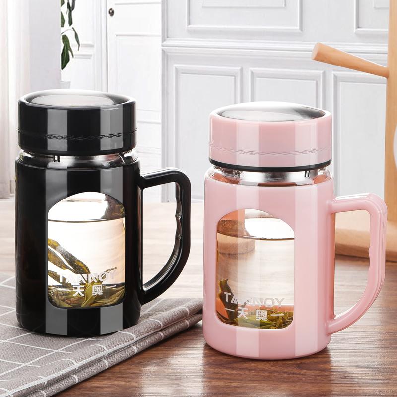 玻璃杯带把有手柄带盖过滤男女士水杯花茶办公室杯子泡茶杯大容量