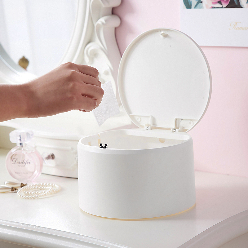 桌面垃圾桶按压式小垃圾筒带盖迷你可爱创意台面塑料收纳桶