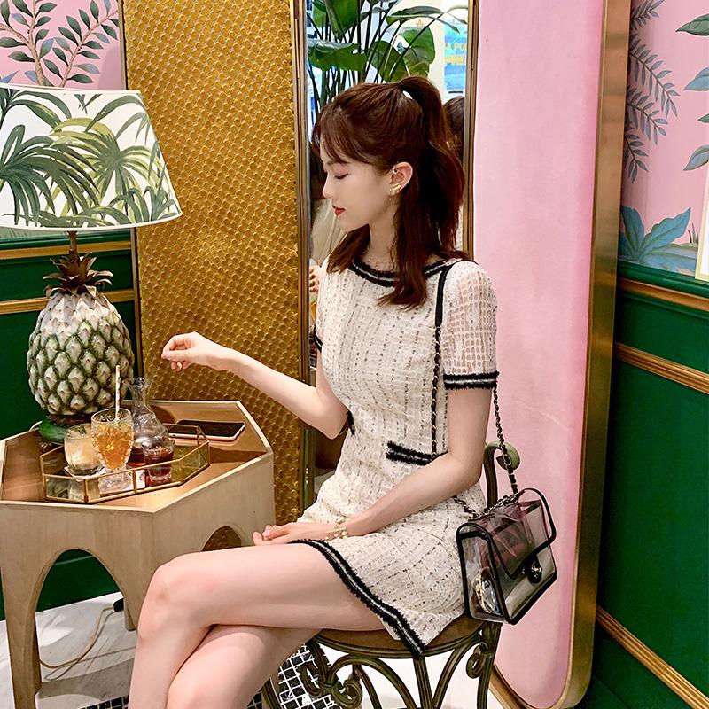 名媛复古蕾丝连衣裙收腰显瘦气质夏季2019新款魏彦妮Santa RitaW(非品牌)