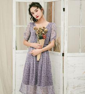 自制紫色氣質碎花蝴蝶結抽繩法式浪漫顯瘦鏤空裙子連衣裙